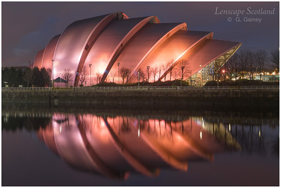 Scottish Exhibition Centre (the Armadillo) illuminated at dusk (1)