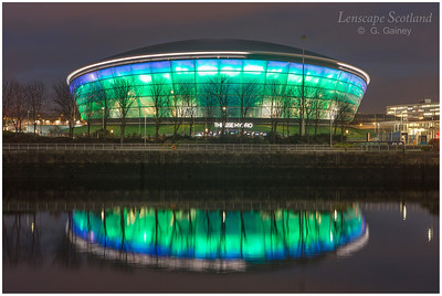 SSE Hydro illuminated at dusk