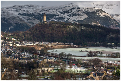 Wallace Monument and the Ochil Hills in snow, from Stirling Castle