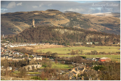 Wallace Monument, Old Stirling Bridge and Ochil Hills from Stirling Castle (1)