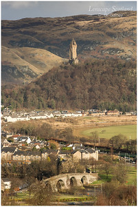 Wallace Monument, Old Stirling Bridge and Ochil Hills from Stirling Castle (2)