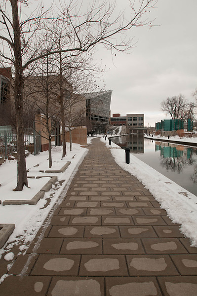 """Downtown Indianapolis along the """"Canal Walk."""""""