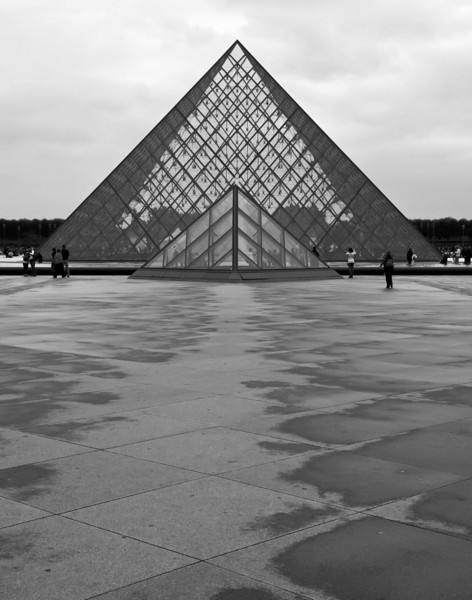 """""""Pyramids in Paris""""<br /> 2nd Place - Black & White Prints<br /> Ron Clemmons"""