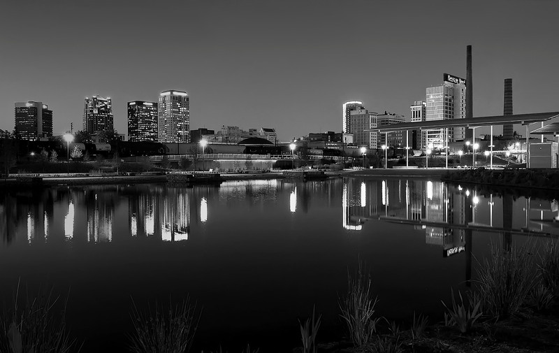"""Twilight Skyline""<br /> 2nd Place - Black & White Prints<br /> Ron Clemmons"