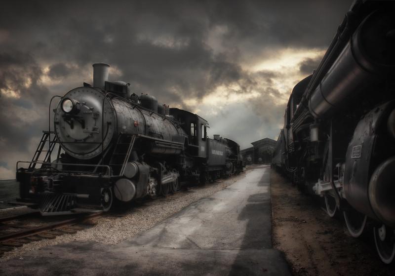 Locomotives At Dusk