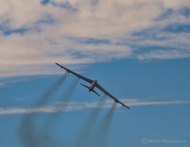 B-52 bomber flying away