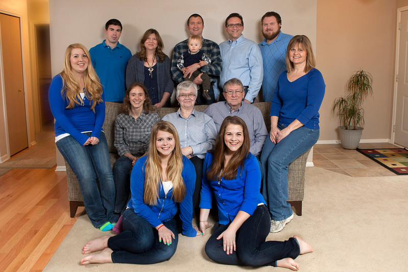 These colors don't match either, but they work well together.  Also notice long sleeves.  Long sleeves look much better in photos than short sleeves or sleeveless.  Take a look at the perspective in this photo.  Notice how much larger the girls in front appear as opposed to the back and even the middle row.  This was taken in a small living room, and I was forced to be in close.  There's one other fix to this problem that we'll see shortly.