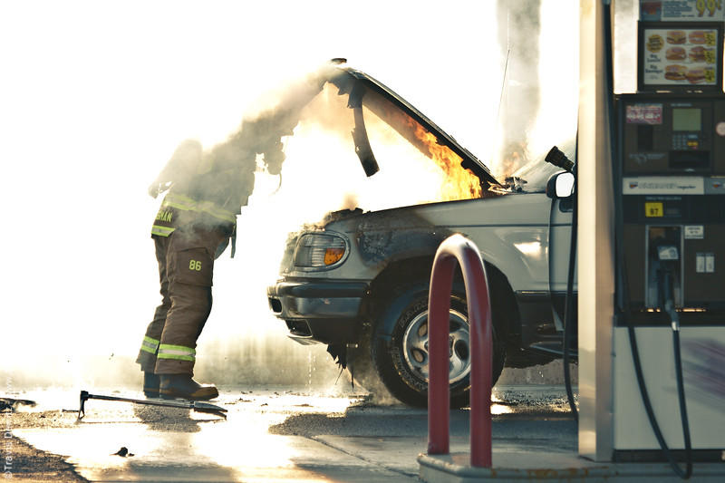 Vehicle Fire - Mega Holiday Gas Station - Eau Claire, WI