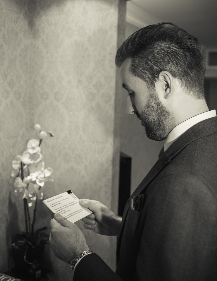 Groom practicing speech