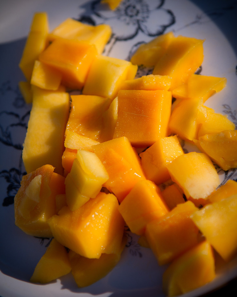 August 19th, 2011 - The Mango cut open<br /> <br /> First off: Hillary thank you, I think I found a new dessert! It was awesome!<br /> <br /> Second: Apparently I'm a bit special when it comes to cutting things open. This picture isn't even close to what I was trying for. When I tried to scour the sides of the mango the first time, I didn't cut deep enough so trying to flip it and pop it out didn't work very well, it just got things wet. Sooo I tried to go back and cut deeper and since I seem to be a bit retarded when it comes to hand eye coordination, everything ended up in this weird messy pile....<br /> <br /> Anyway! Long story short, thank you Hillary for the homework assignment, it was probably the funnest one I've ever gotten! It was definitely an adventure! But I obviously need to go back to mango cutting school so I can get a shot that turns out!<br /> <br /> Thank goodness its Friday!