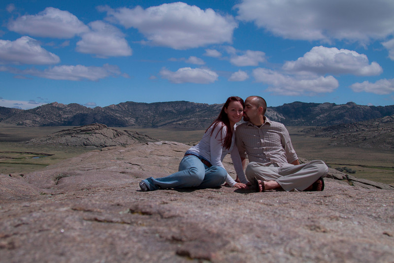 May 25th, 2012<br /> <br /> Chris and I on the top of Independence Rock.<br /> Happy Friday!