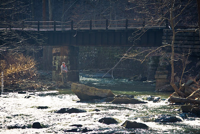 Fly fishing on Loup Creek near Thurmond, West Virginia.
