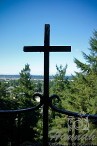 "One of the fenced cross at ""The Grotto"" in Portland, Oregon  © Copyright Hannah Pastrana Prieto"
