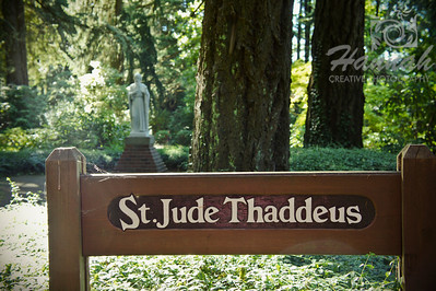 "Statue of St. Jude Thaddeus at the botanical gardens of ""The Grotto"" in Portland, Oregon  © Copyright Hannah Pastrana Prieto"