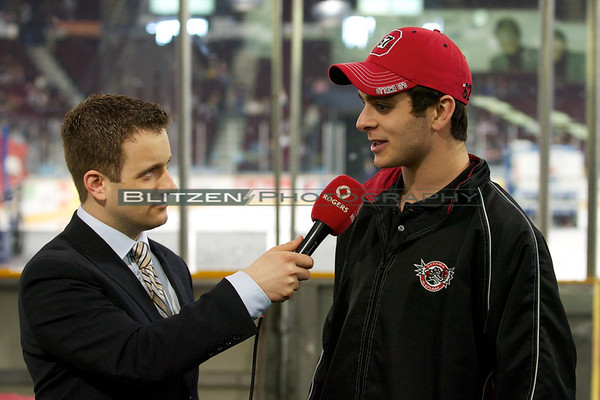 Ottawa's third round draft pick Andrew Abou-Assaly interviewed by Chris Messina at the first intermission.  The 67's are hoping to sign him - they are in competition with a few Ivey-League schools.