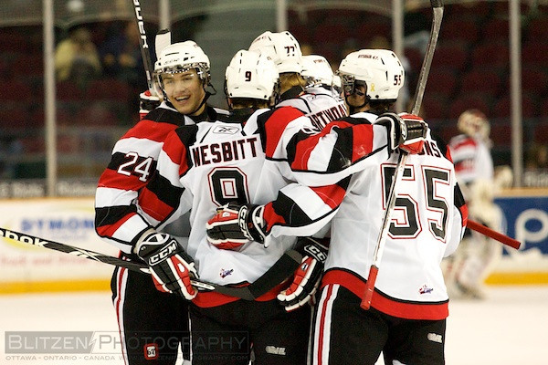 Celebrating Adam's first goal as a 67's.