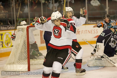 Nicolas Foglia celebrating his first OHL goal