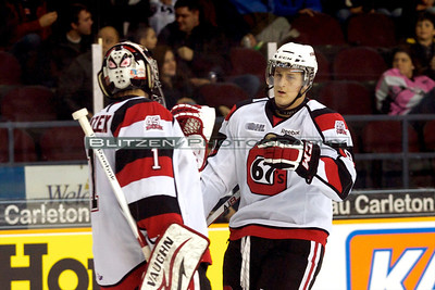 Ryan Van Stralen and Petr Mrazek after Ryan's goal in the second.