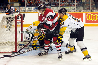 One of many close scoring chances for the 67's.