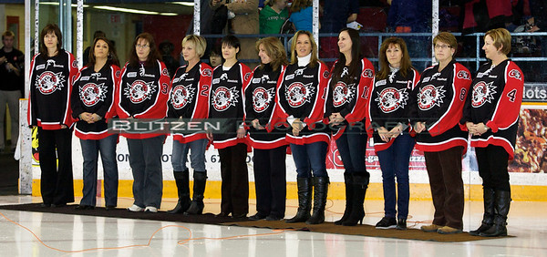 Some of the players' moms at the game.  I didn't get all their names but the left-most mom is Karen (mom of Cody Ceci), next to her is Lola (mom of Nick Foglia).