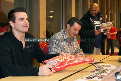 Former 67's Lance Galbraith and Zenon Konopka signing autographs
