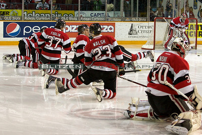 David Walsh in his first pre-game warm-up with the 67's