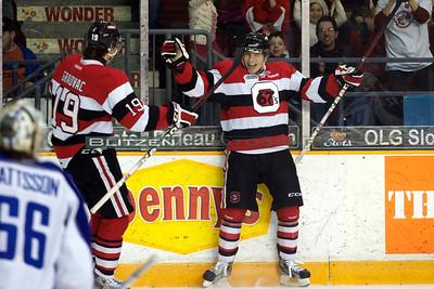 Cody Ceci and Tyler Graovac celebrating the short-handed goal to tie the game at 1.