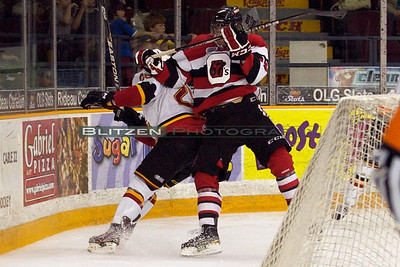 Remy Giftopolous with one of many hits by the 67's