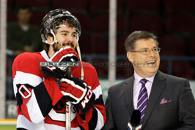 Marc-Anthony Zanetti and Rob Faulds (Sportsnet) enjoying a laugh before the interview