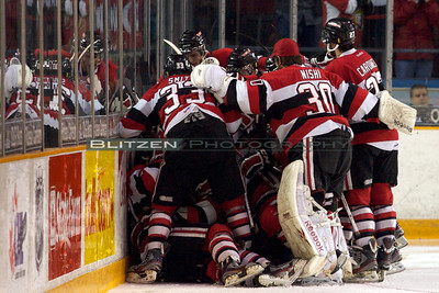 The 67's celebrate the dramatic win.