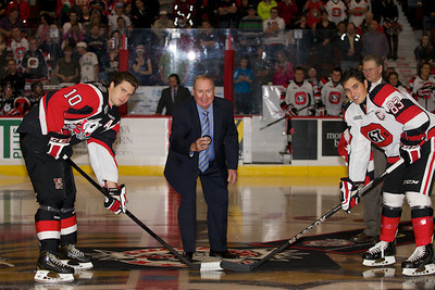 "Long time 67's game caller Dave Schreiber ""The Voice"" was honoured as it was his last game."
