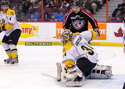 JP Anderson making a toe-save.
