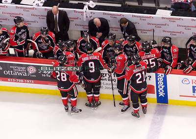 Ottawa coaches calling a time out to try and get the team organized after allowing two quick goals.