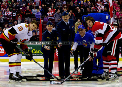 Ceremonial puck drop with BMO and members of the Canadian Airforce.
