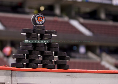 Warm-up puck inukshuk.