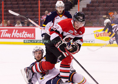 Sean Monahan blowing through Mark Schiefele