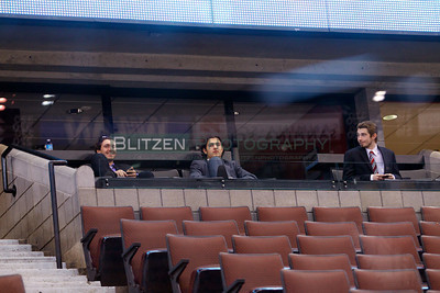 Scratches MIke Vlajkov, Joseph Blandisi and Connor Graham watch the warm-up from a suite.
