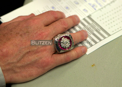 What everyone in the game wants - a Stanley Cup Ring.  The 2013 Chicago Blackhawks version.  It's a heavy piece of bling!