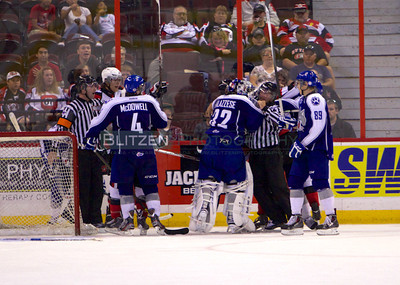 Sudbury goalie Frankie Palazzese lost his cool and was penalized for roughing.