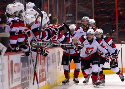 Celebrating Travis Konecny's first OHL goal and the first Ottawa 67's goal of the game.