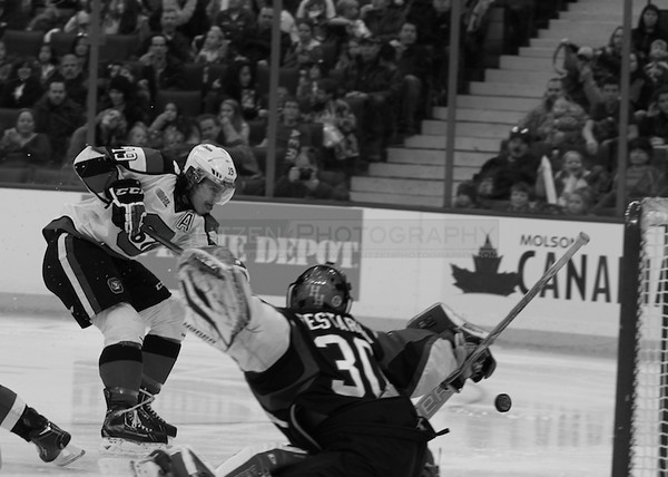 Blandisi scores with the first SOG.  And my camera setting was temporarily black and white so we get an artsy shot.