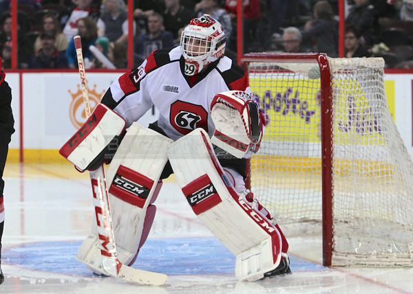 Phillippe Trudeau debuting his new goalie 67's goalie gear - pads, catcher and blocker.