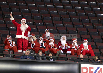 Many Santas at the game.