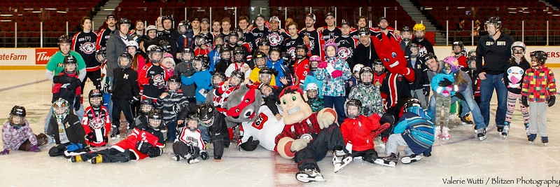 Kid's day - a skate with the 67's and the OSEG mascots.