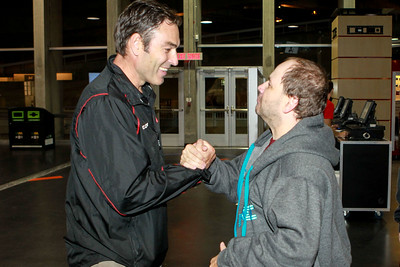 Coach Brown being welcomed by a long-time 67's fan.