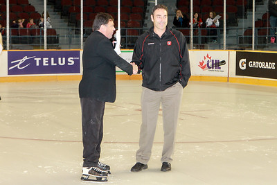 Ottawa 67's Game Day Announcer, Dan Mooney introducing Head Coach Jef Brown.