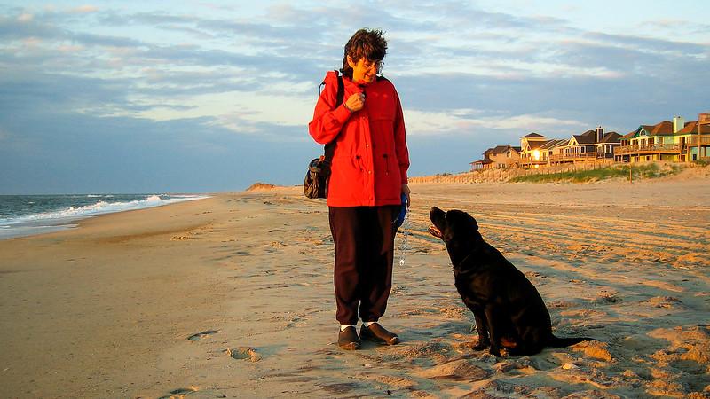 Mercedes & Megan enjoy sunrise on the beach - OBX - May 2005