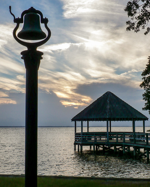 Whalehead Club - Gazeebo & bell at dusk