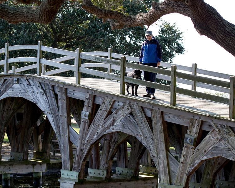 Mercedes & Megan atop  the Whalehead Club wooden bridge