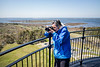 Mercedes taking photos atop the lighthouse